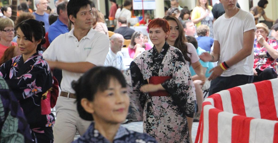 Everyone is invited to join in bon odori, the Bon Dance, led by Midori no Kai.