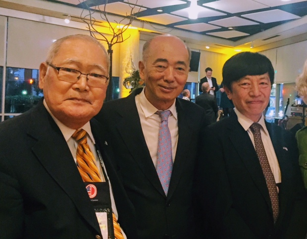"From left: award recipient and State Ambassador for Economic Development Hirokuni ""Harry"" Watanabe, Japan Ambassador to the US Kenichiro Sasae, and Consul General of Japan in Atlanta Takashi Shinozuka at SEUS-Japan Conference in Greenville, South Carolina, October 2017."