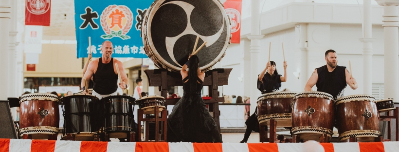 Ronin Taiko drummers perform at Greenville Bon Dance