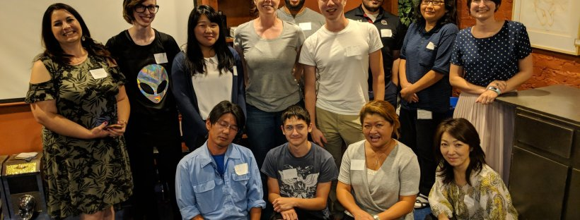 Group poses after Japan-America of SC language exchange meeting at Coffee Underground
